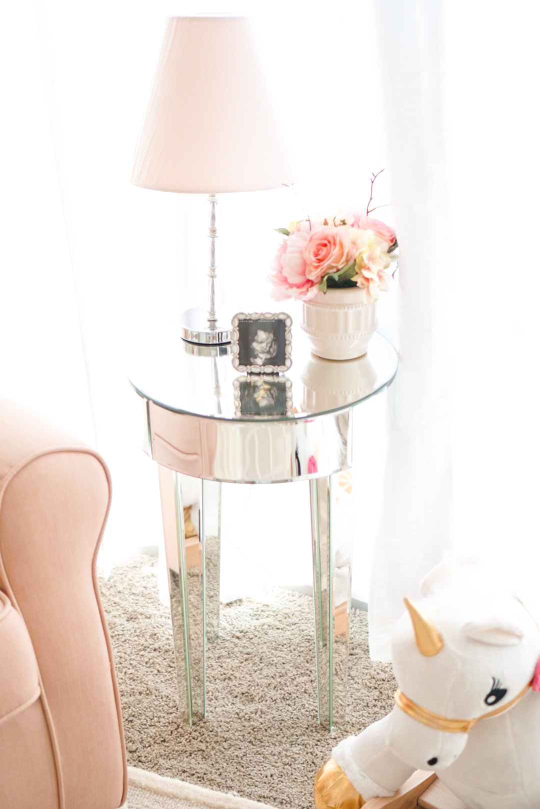 Blogger Katelyn Jones A Touch of Pink Nursery mirrored side table
