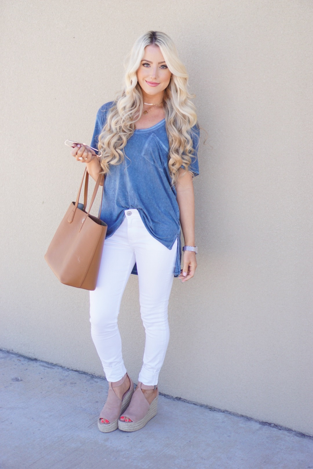 A Touch of Pink Blog Katelyn Jones Free People Nordstrom Cute White Jeans