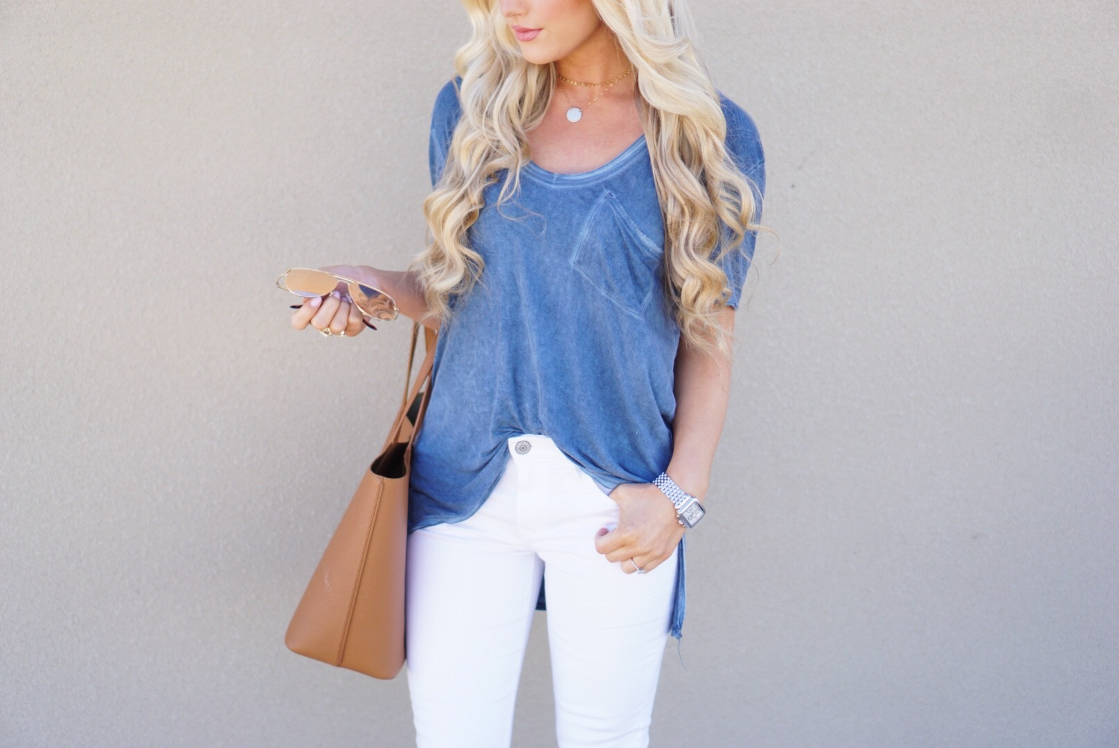 A Touch of Pink Blog Katelyn Jones White Express Jeans Free People Shirt