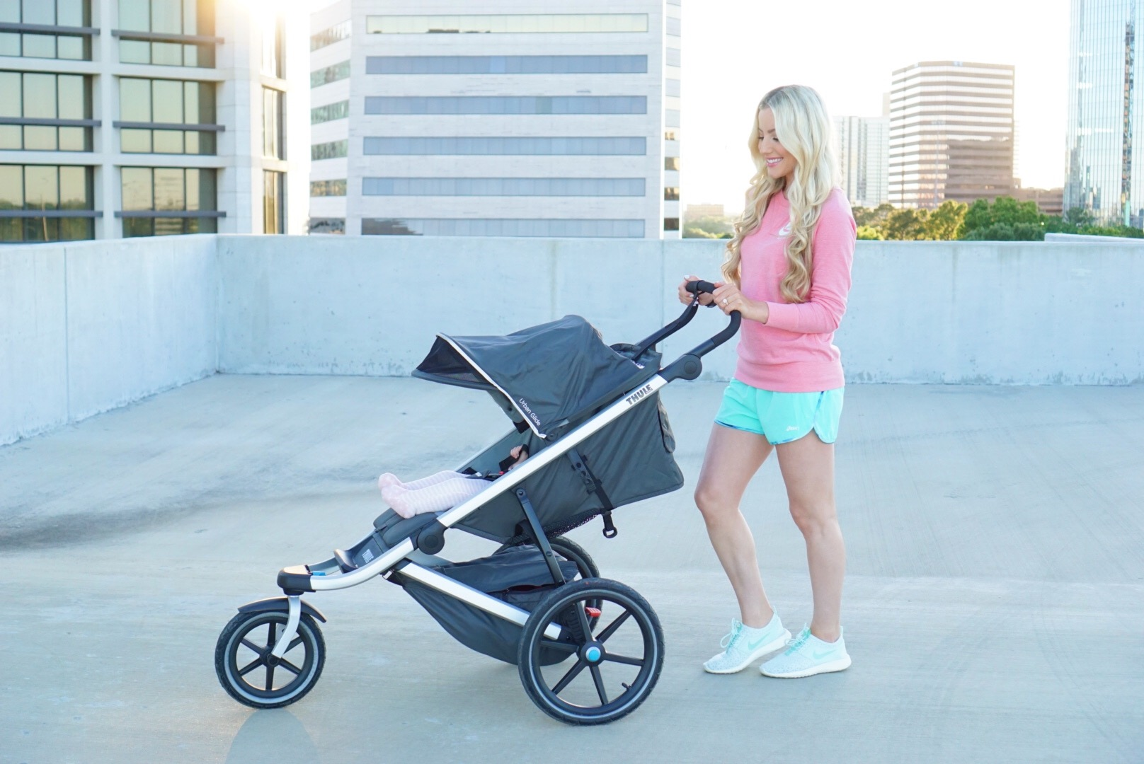 Katelyn Jones A Touch of Pink Fitness Routine Thule Jogging Pram