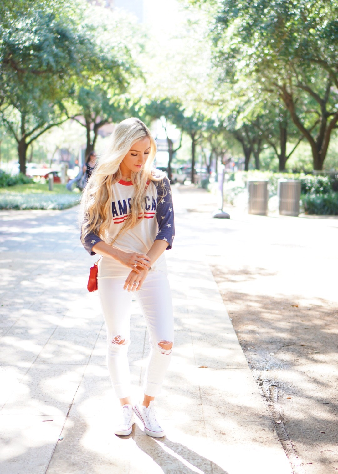 Katelyn Jones A Touch of Pink Blog Fourth of July Outfit America Tee Shirt