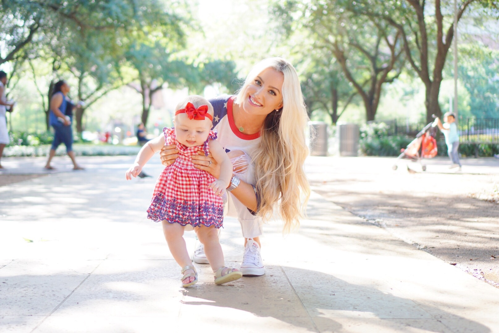Katelyn Jones A Touch of Pink Blog Fourth of July Outfit Summer Dress Baby