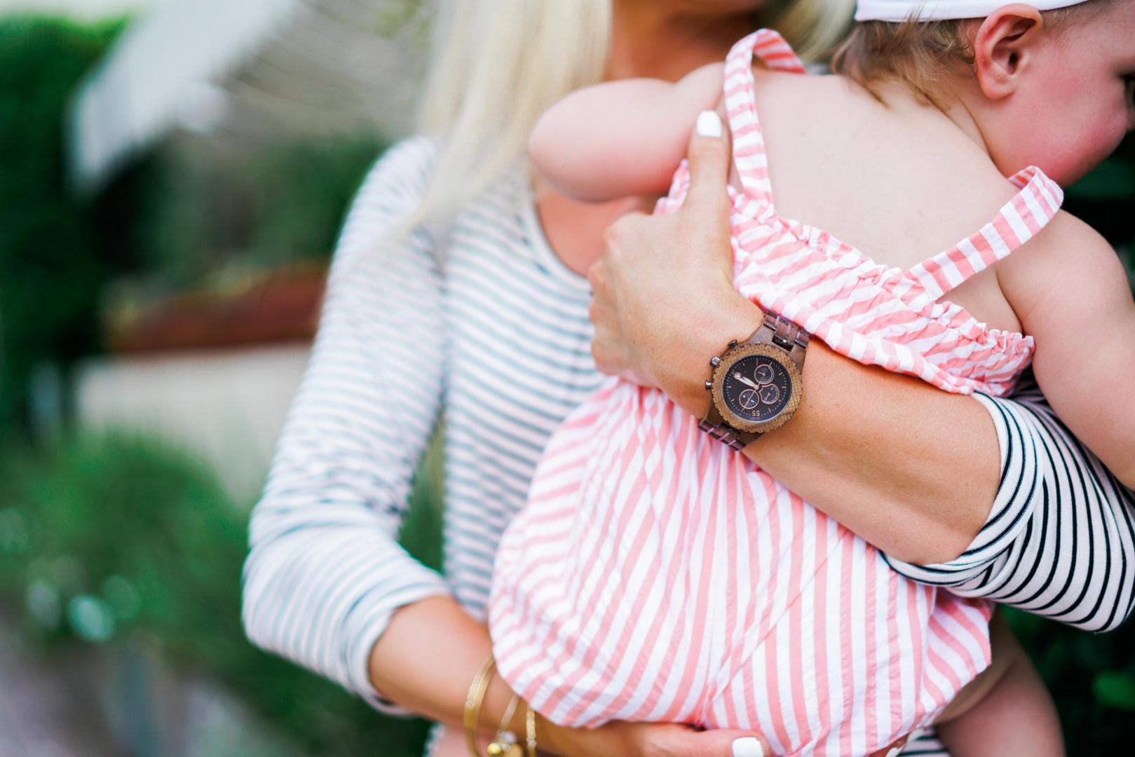 Katelyn Jones A Touch of Pink Blog Jord Watch Fieldcrest Maple Wood Watch Mommy Daughter Baby Girl