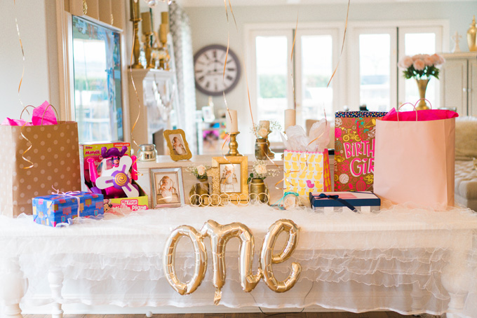 Katelyn Jones A Touch of Pink Baby Birthday Present Table