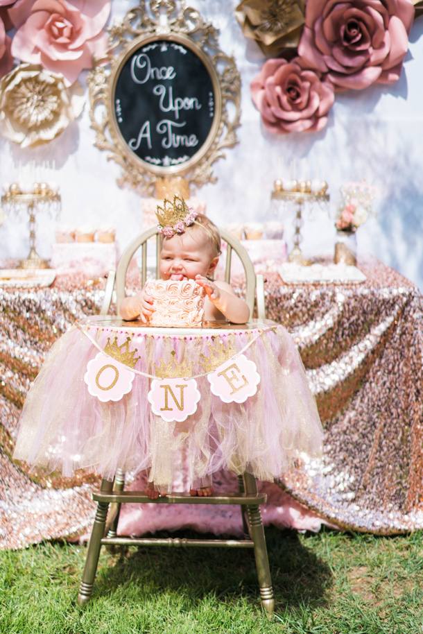 Katelyn Jones A Touch of Pink Baby Birthday Smash Cake High Chair Setup