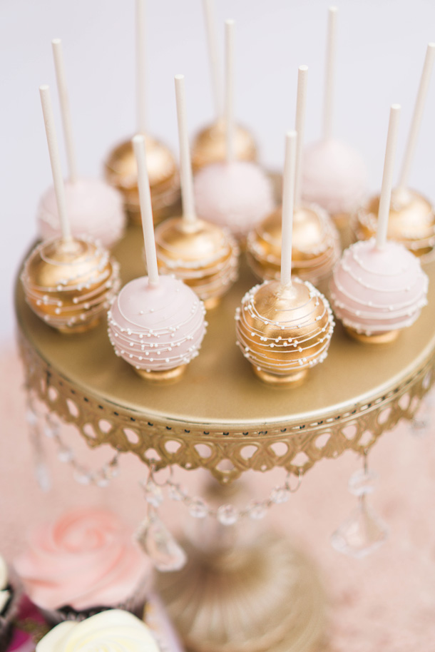 Pink Gold And White Cake Pops