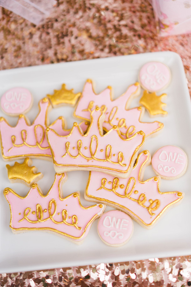 Katelyn Jones A Touch of Pink Baby Girl Birthday Desserts Crown Sugar Cookies
