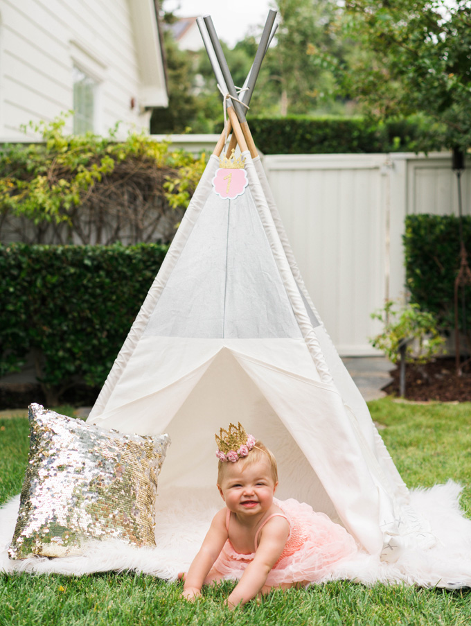 Katelyn Jones A Touch of Pink Land of Nod Teepee decoration and baby girl