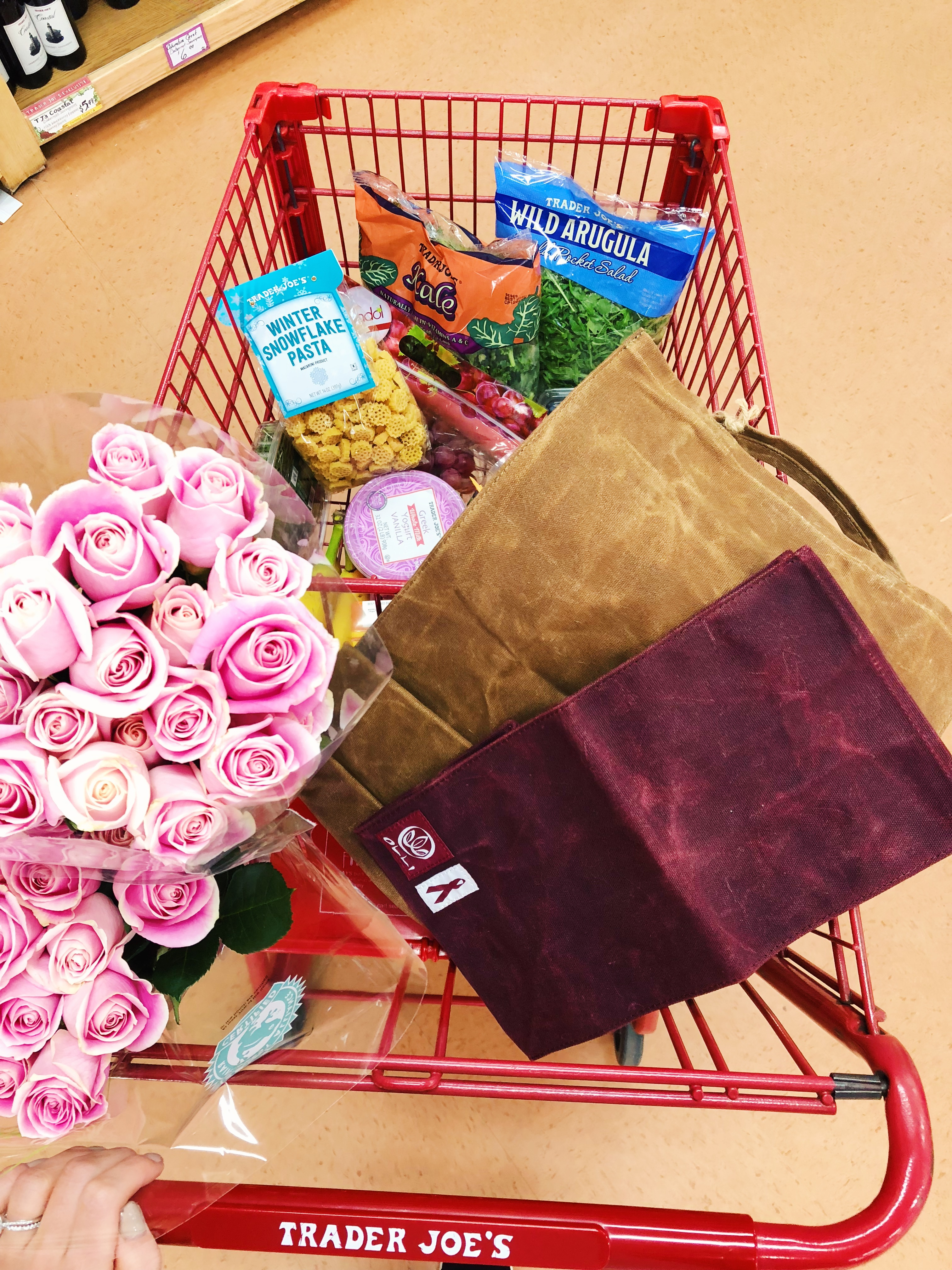 Katelyn Jones A Touch Of Pink Blog Trader Joe's Grocery Haul Olli Reusable Shopping Bags