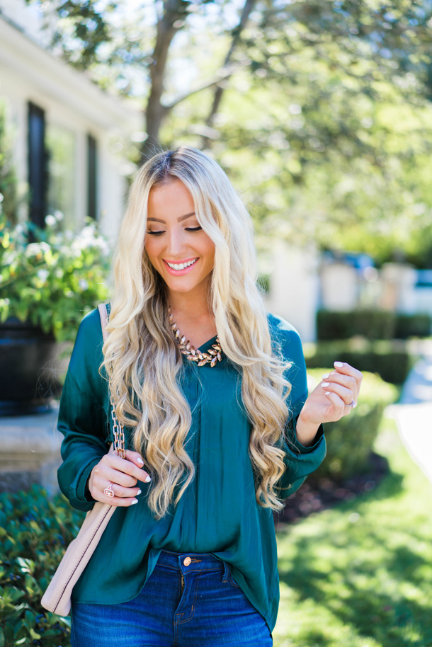 Katelyn Jones A Touch of Pink Blog Satin Blouse Nordstrom Sale Holiday Outfit