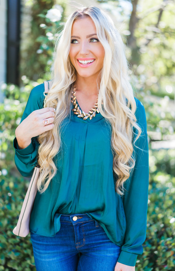 Katelyn Jones A Touch of Pink Blog Satin Blouse Nordstrom Sale Fashion Blogger Orange County