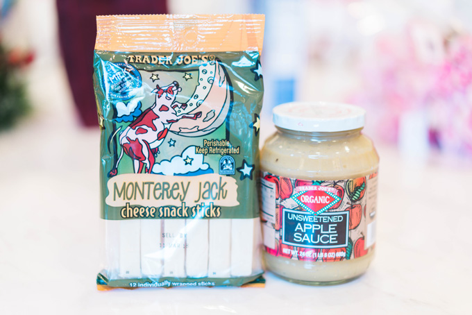 Katelyn Jones A Touch of Pink Blog Trader Joe's Grocery Haul Favorites apple sauce cheese sticks