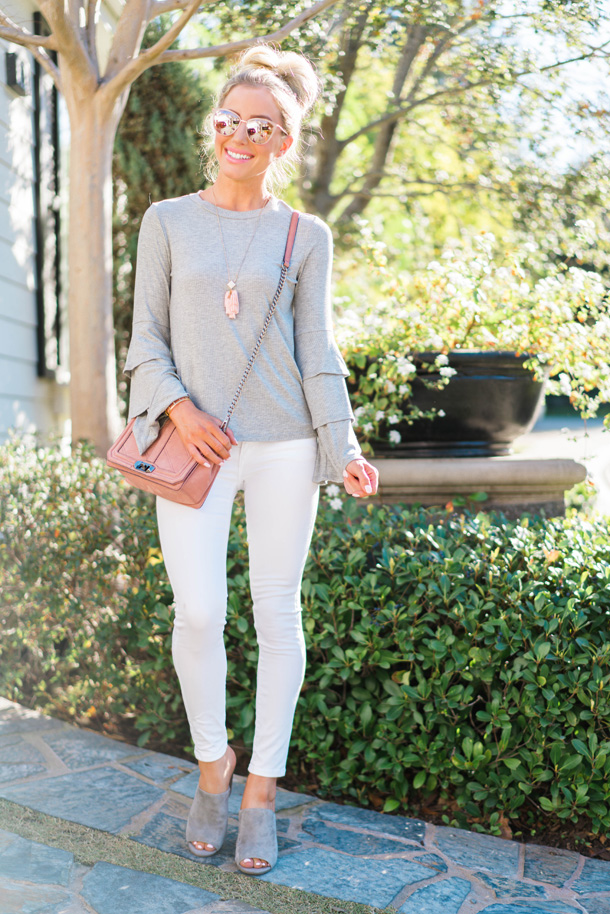 Lifestyle blogger Katelyn Jones of A Touch Of Pink wears a Nordstrom BP Ruffle Sleeve Sweater