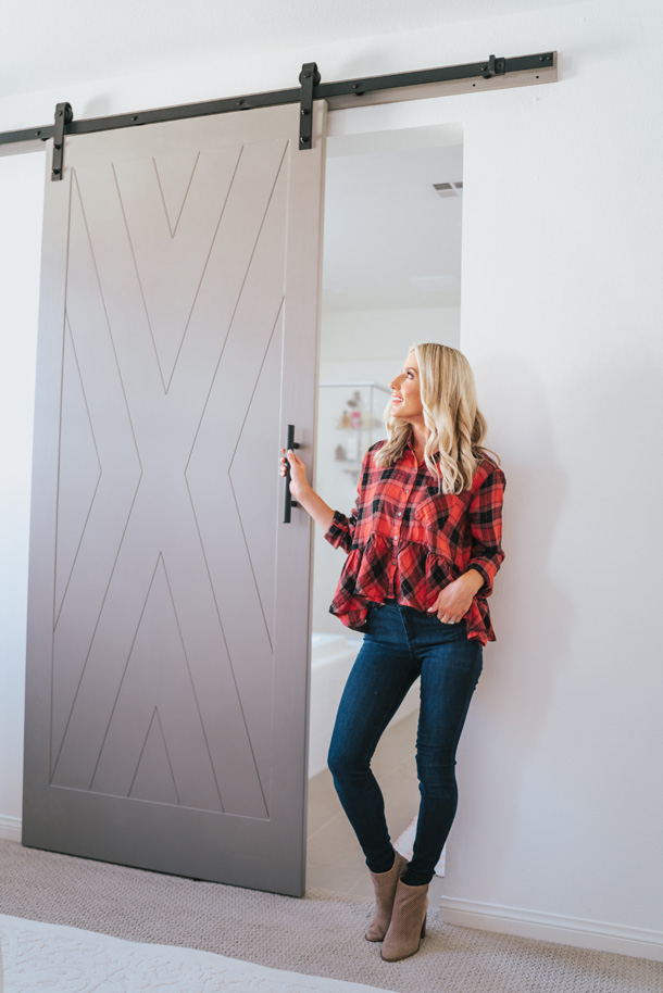 custom barn door and shiplap entryway with urban wall design a
